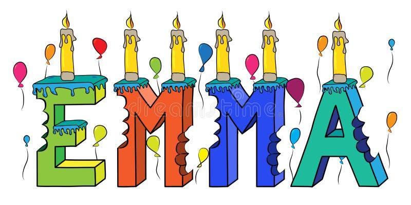 Δαγκωμένο ζωηρόχρωμο τρισδιάστατο γράφοντας κέικ γενεθλίων ονόματος της Emma με τα κεριά και τα μπαλόνια ελεύθερη απεικόνιση δικαιώματος
