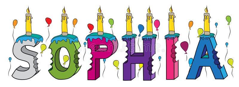 Δαγκωμένο ζωηρόχρωμο τρισδιάστατο γράφοντας κέικ γενεθλίων ονόματος της Sophia με το cand διανυσματική απεικόνιση