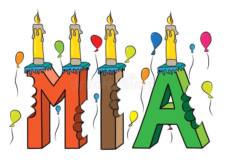 Δαγκωμένο ζωηρόχρωμο τρισδιάστατο γράφοντας κέικ γενεθλίων ονόματος της Mia με τα κεριά και τα μπαλόνια διανυσματική απεικόνιση