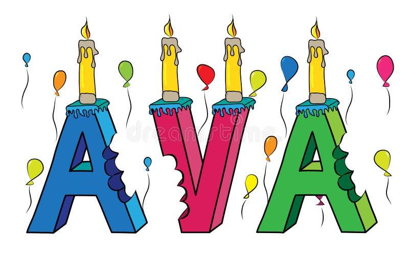 Δαγκωμένο ζωηρόχρωμο τρισδιάστατο γράφοντας κέικ γενεθλίων ονόματος της Ava με τα κεριά και τα μπαλόνια απεικόνιση αποθεμάτων