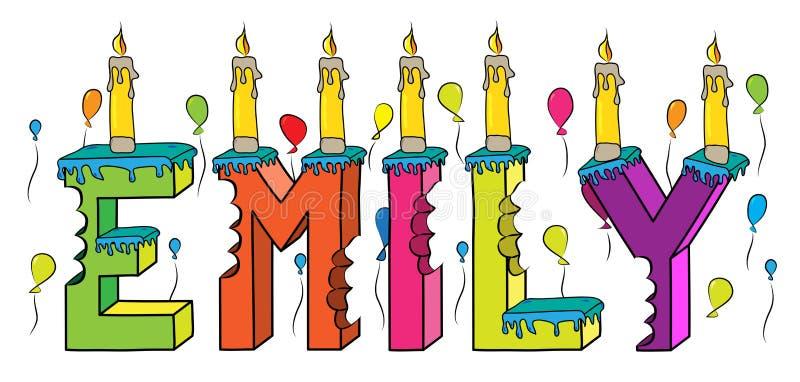 Δαγκωμένο ζωηρόχρωμο τρισδιάστατο γράφοντας κέικ γενεθλίων ονόματος της Emily με τα κεριά και τα μπαλόνια απεικόνιση αποθεμάτων