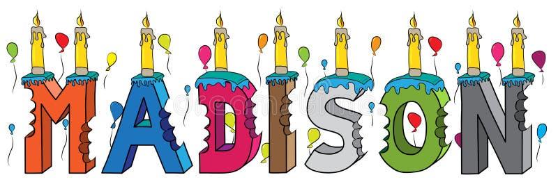 Δαγκωμένο ζωηρόχρωμο τρισδιάστατο γράφοντας κέικ γενεθλίων ονόματος του Μάντισον με τα κεριά και τα μπαλόνια διανυσματική απεικόνιση