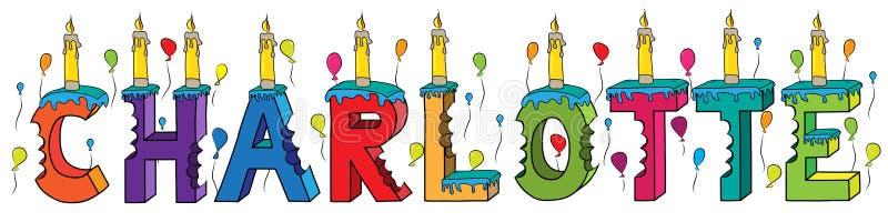 Δαγκωμένο ζωηρόχρωμο τρισδιάστατο γράφοντας κέικ γενεθλίων ονόματος του Σαρλόττα με τα κεριά και τα μπαλόνια διανυσματική απεικόνιση