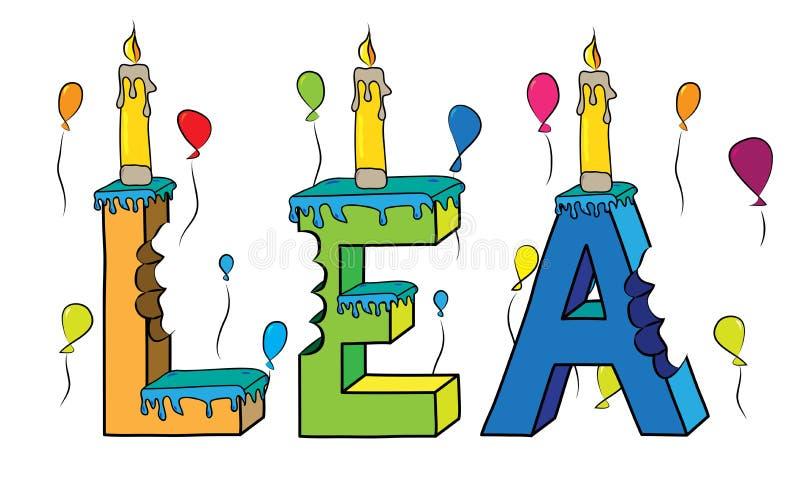 Δαγκωμένο ζωηρόχρωμο τρισδιάστατο γράφοντας κέικ γενεθλίων ονόματος της Lea με τα κεριά ελεύθερη απεικόνιση δικαιώματος