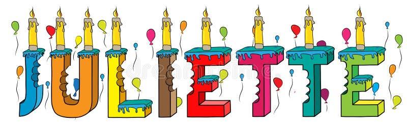 Δαγκωμένο ζωηρόχρωμο τρισδιάστατο γράφοντας κέικ γενεθλίων ονόματος της Juliette ελεύθερη απεικόνιση δικαιώματος