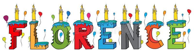 Δαγκωμένο ζωηρόχρωμο τρισδιάστατο γράφοντας κέικ γενεθλίων ονόματος της Φλωρεντίας διανυσματική απεικόνιση