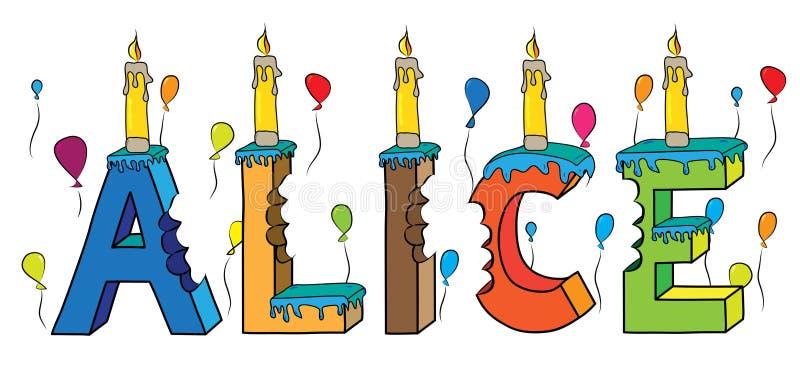 Δαγκωμένο ζωηρόχρωμο τρισδιάστατο γράφοντας κέικ γενεθλίων ονόματος της Alice διανυσματική απεικόνιση