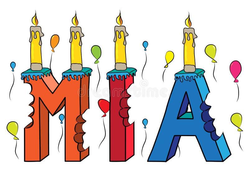 Δαγκωμένο ζωηρόχρωμο τρισδιάστατο γράφοντας κέικ γενεθλίων ονόματος της Mia με τα κεριά και τα μπαλόνια ελεύθερη απεικόνιση δικαιώματος