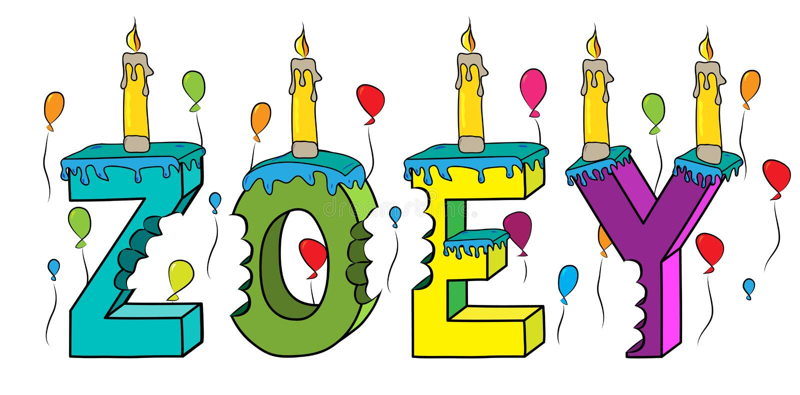 Δαγκωμένο ζωηρόχρωμο τρισδιάστατο γράφοντας κέικ γενεθλίων ονόματος της Zoey με τα κεριά και τα μπαλόνια απεικόνιση αποθεμάτων