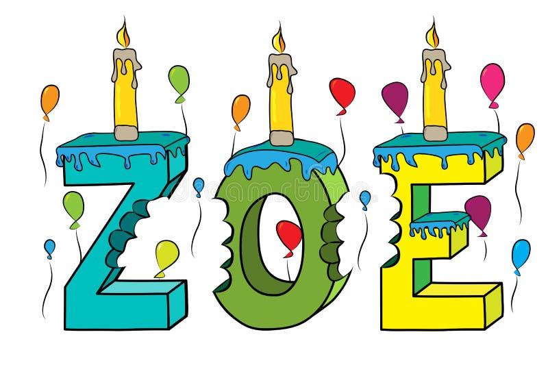 Δαγκωμένο ζωηρόχρωμο τρισδιάστατο γράφοντας κέικ γενεθλίων ονόματος του Ζωή με τα κεριά και τα μπαλόνια ελεύθερη απεικόνιση δικαιώματος