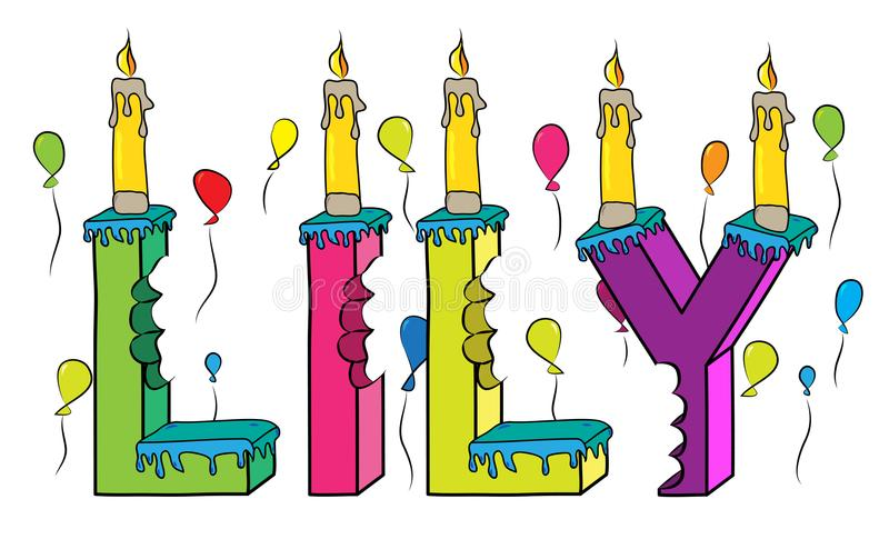 Δαγκωμένο ζωηρόχρωμο τρισδιάστατο γράφοντας κέικ γενεθλίων ονόματος κρίνων με το κερί απεικόνιση αποθεμάτων
