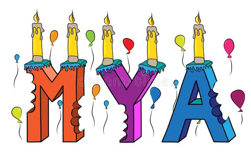 Δαγκωμένο ζωηρόχρωμο τρισδιάστατο γράφοντας κέικ γενεθλίων ονόματος της Mya με τα κεριά και τα μπαλόνια ελεύθερη απεικόνιση δικαιώματος