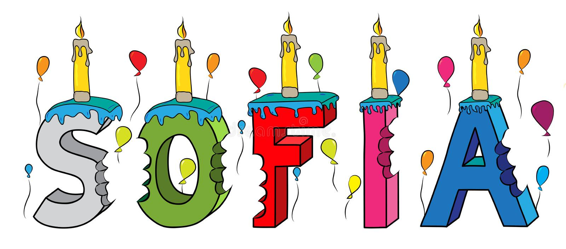 Δαγκωμένο ζωηρόχρωμο τρισδιάστατο γράφοντας κέικ γενεθλίων ονόματος της Sofia με τα κεριά και τα μπαλόνια διανυσματική απεικόνιση