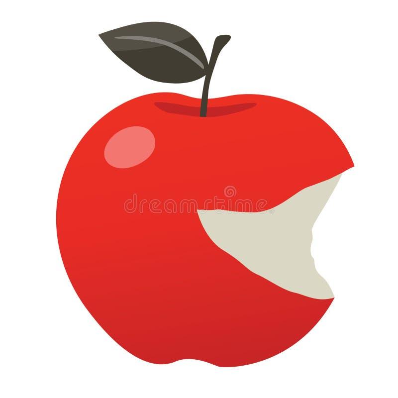 Δαγκωμένο κόκκινο μήλο Smiley διανυσματική απεικόνιση