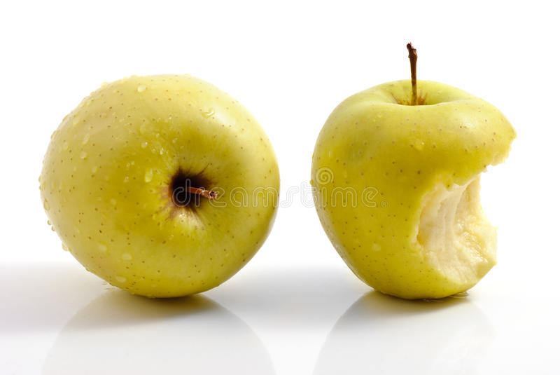 δαγκωμένο μήλα σύνολο κο στοκ φωτογραφία