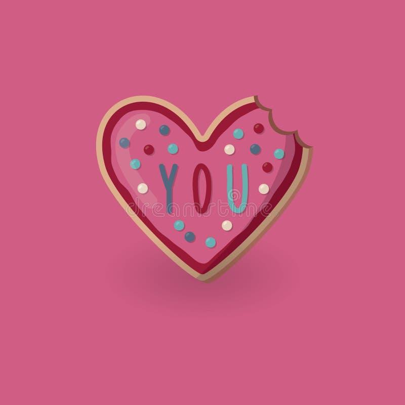 Δαγκωμένο μορφή μπισκότο καρδιών με τη λέξη εσείς βαλεντίνος διανυσματική απεικόνιση