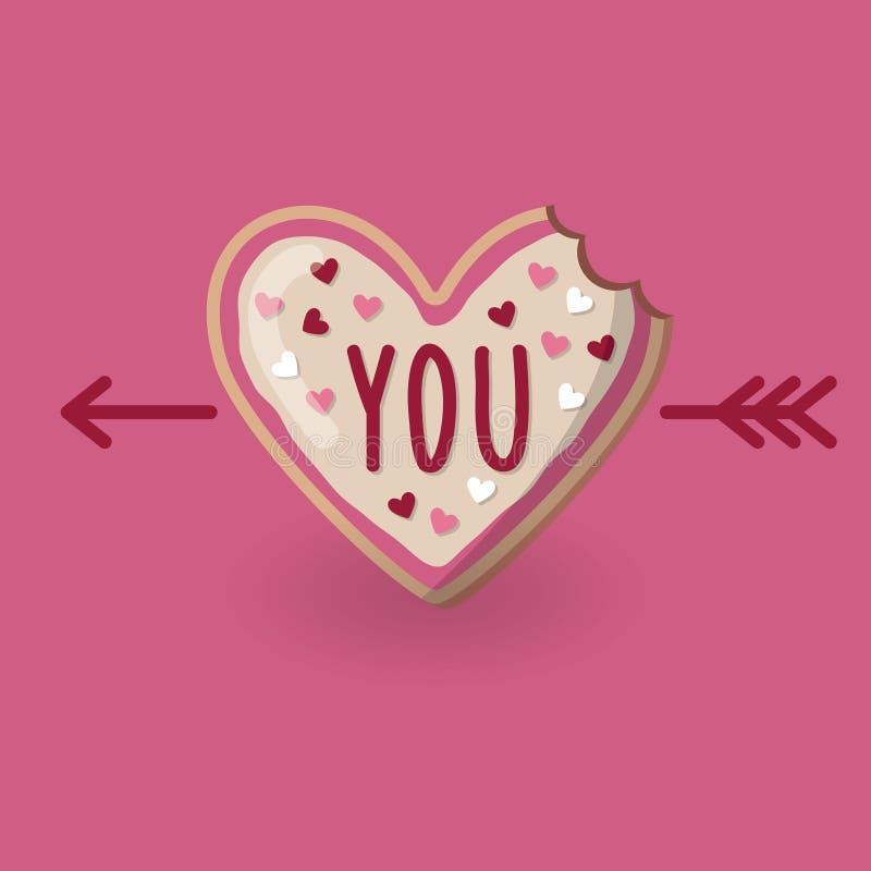 Δαγκωμένο μορφή μπισκότο καρδιών με τη λέξη εσείς και βέλος απεικόνιση αποθεμάτων