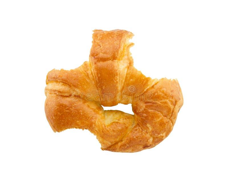 Δαγκωμένο croissant απομονωμένο άσπρο υπόβαθρο στοκ φωτογραφίες