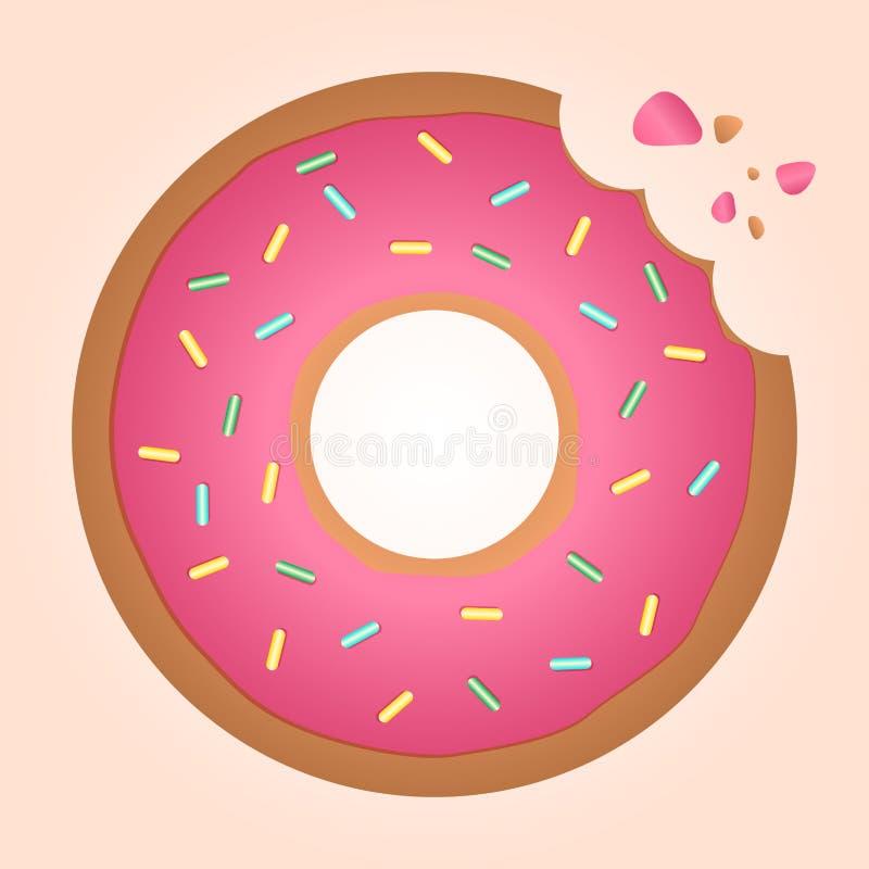 Δαγκωμένο doughnut δαχτυλιδιών φραουλών διανυσματική απεικόνιση