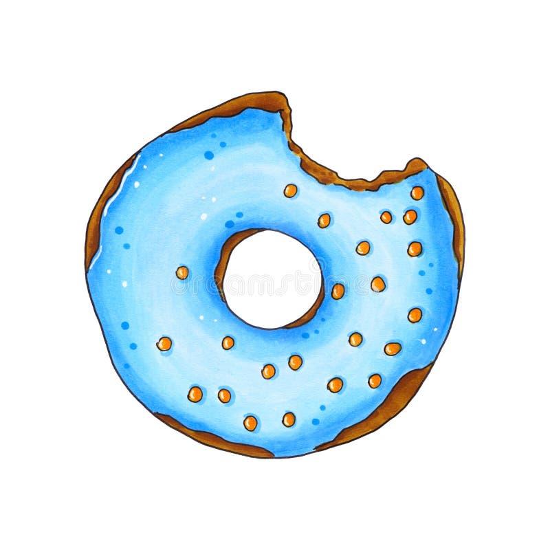 Δαγκωμένο doughnut με το μπλε λούστρο και ψεκάζει Συρμένος χέρι δείκτης IL διανυσματική απεικόνιση
