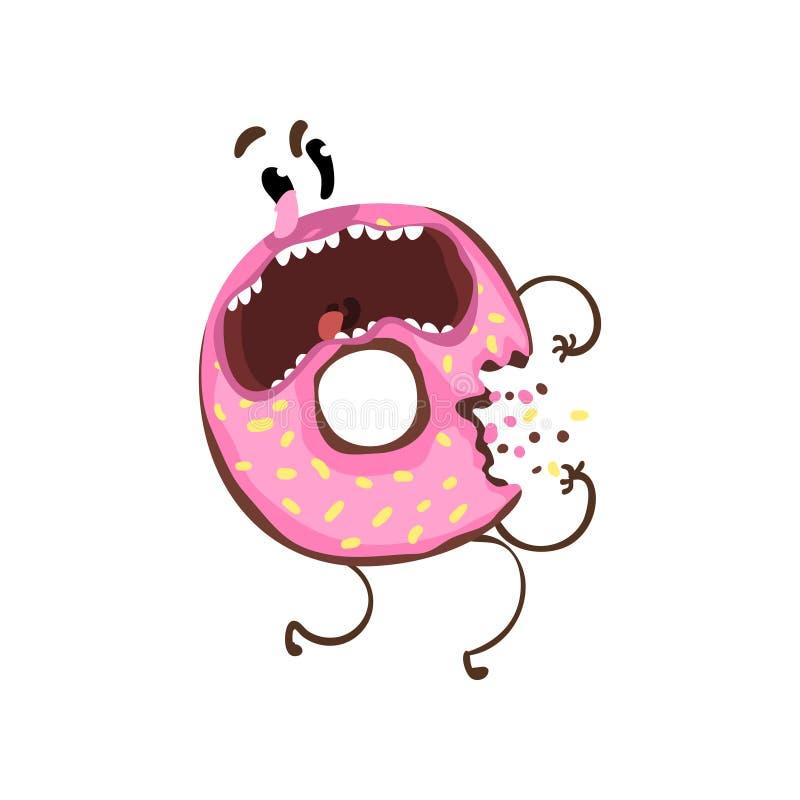 Δαγκωμένο doughnut με το ρόδινο λούστρο και ψεκάζει Χαρακτήρας κινουμένων σχεδίων doughnut με την εκφοβισμένη έκφραση του προσώπο απεικόνιση αποθεμάτων