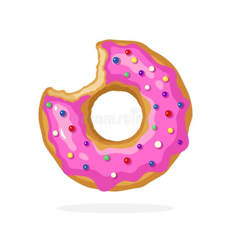 Δαγκωμένο doughnut με το ρόδινο λούστρο και χρωματισμένα dragees ζάχαρης ελεύθερη απεικόνιση δικαιώματος