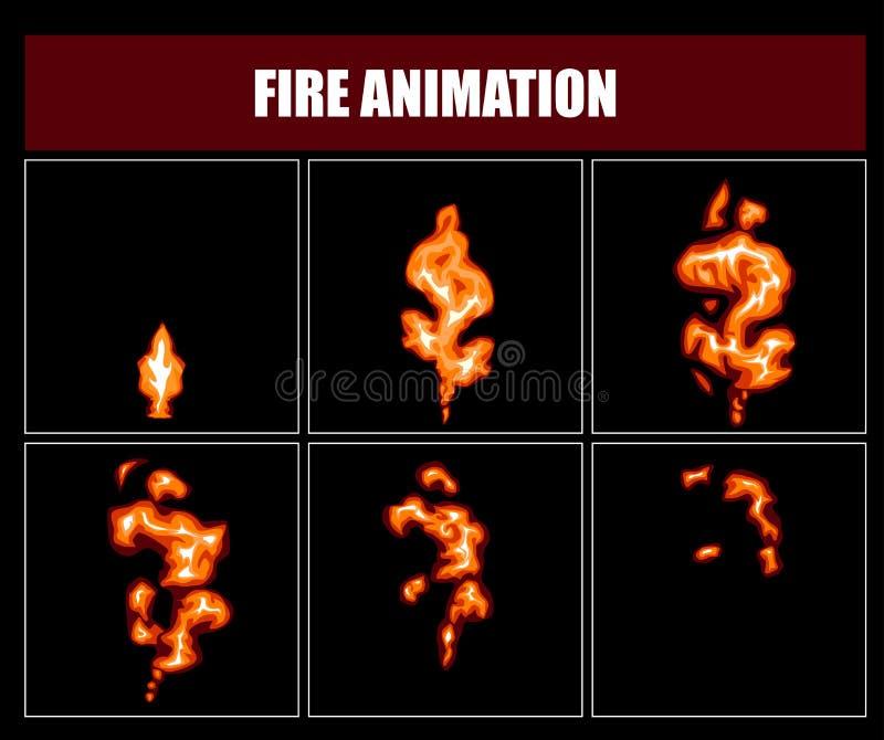 Δαιμόνια ζωτικότητας πυρκαγιάς, διανυσματικά τηλεοπτικά πλαίσια φλογών για το σχέδιο παιχνιδιών διανυσματική απεικόνιση