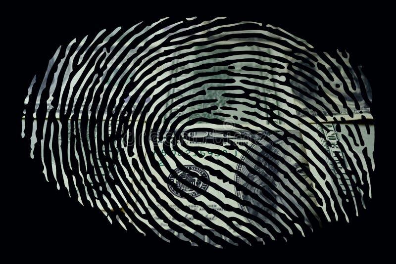 Δακτυλικό αποτύπωμα με το δολάριο μέσα ελεύθερη απεικόνιση δικαιώματος