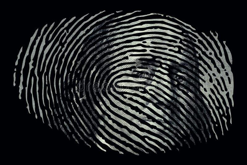 Δακτυλικό αποτύπωμα με το δολάριο μέσα απεικόνιση αποθεμάτων