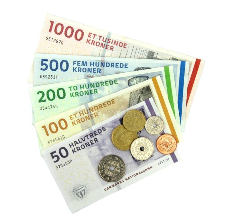 Δανικές κορώνες (DKK), νομίσματα και τραπεζογραμμάτια. στοκ εικόνα