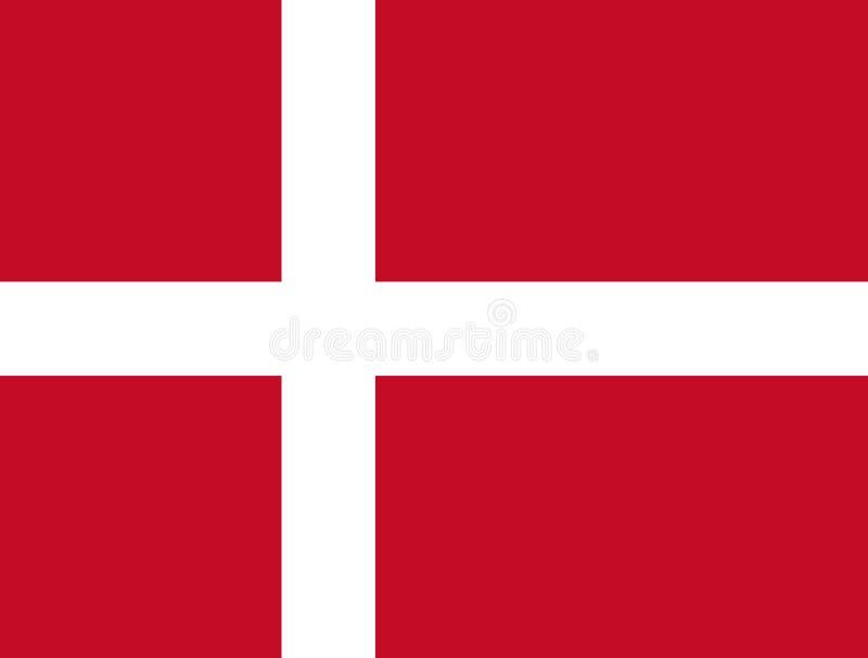 Δανική σημαία, επίπεδο σχεδιάγραμμα, διανυσματική απεικόνιση απεικόνιση αποθεμάτων