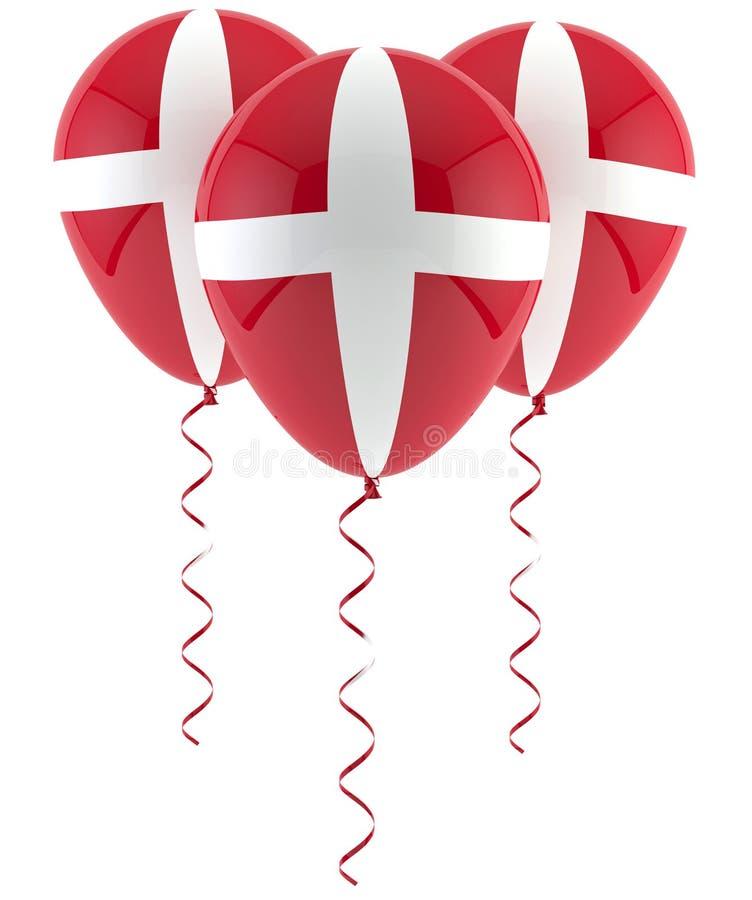 Δανικό μπαλόνι σημαιών διανυσματική απεικόνιση
