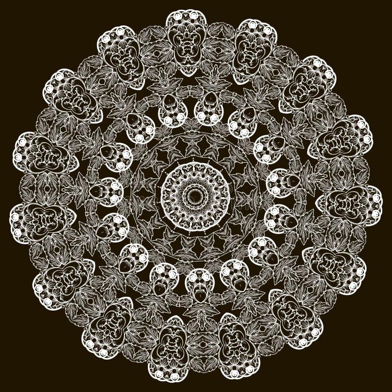 Δαντέλλα γύρω από το διακοσμητικό μπαρόκ διανυσματικό σχέδιο mandala Δαντελλωτός floral εκλεκτής ποιότητας διακόσμηση Η γραπτή κο απεικόνιση αποθεμάτων