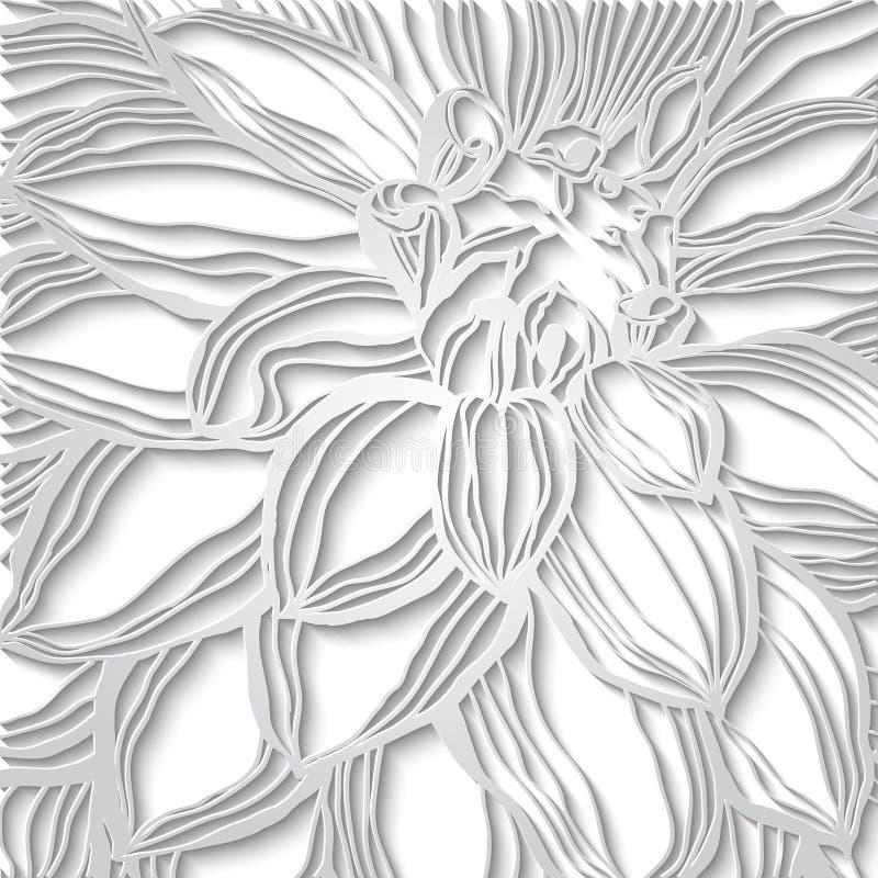 Δαντέλλα εγγράφου floral, με τα δαντελλωτός σύνορα, ευχετήρια κάρτα, γαμήλια πρόσκληση διανυσματική απεικόνιση