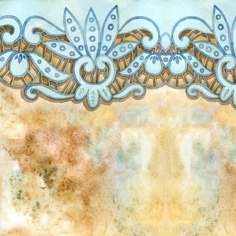 Δαντελλωτός κομψά σύνορα watercolor Δαντελλωτός εκλεκτής ποιότητας περιποίηση Το χέρι σύρει την απεικόνιση στοκ εικόνα