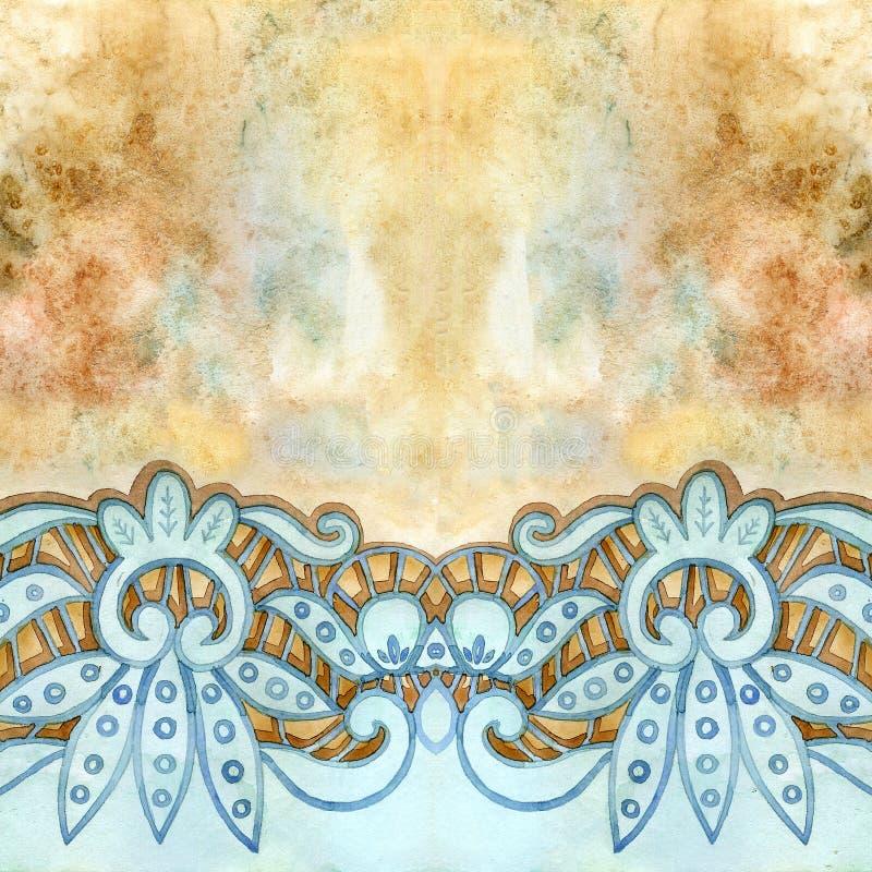 Δαντελλωτός κομψά σύνορα watercolor Δαντελλωτός εκλεκτής ποιότητας περιποίηση Το χέρι σύρει την απεικόνιση απεικόνιση αποθεμάτων