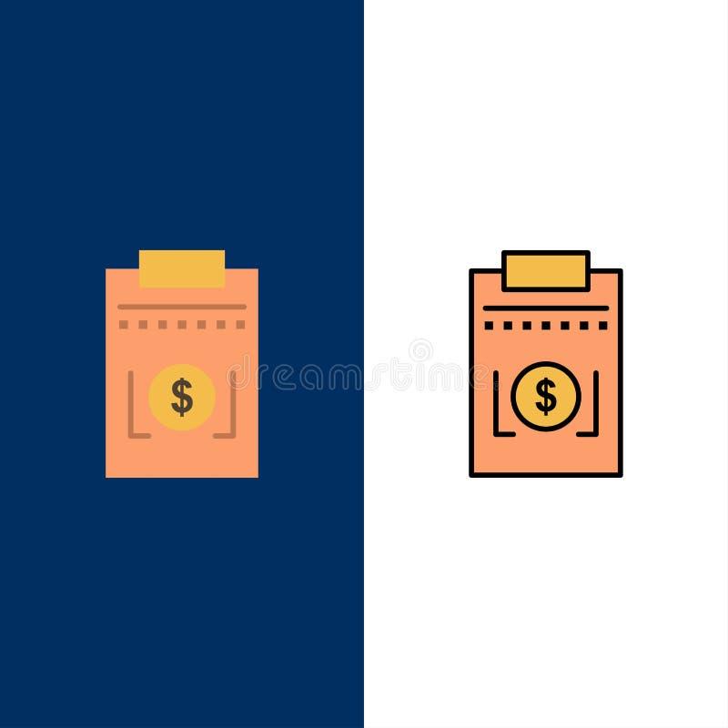 Δαπάνη, επιχείρηση, δολάριο, εικονίδια χρημάτων Επίπεδος και γραμμή γέμισε το καθορισμένο διανυσματικό μπλε υπόβαθρο εικονιδίων διανυσματική απεικόνιση