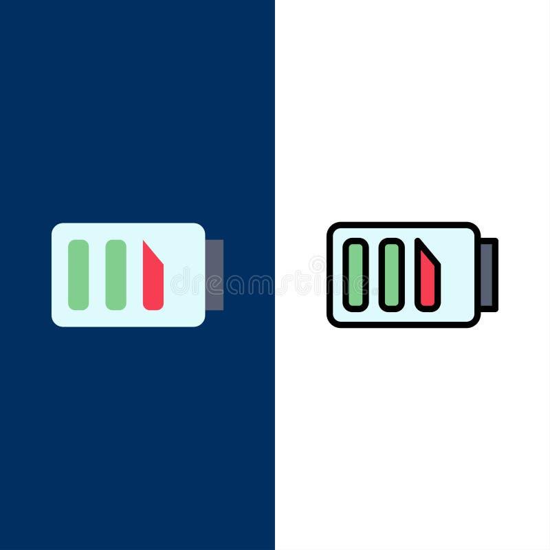Δαπάνη, μπαταρία, ηλεκτρική ενέργεια, απλά εικονίδια Επίπεδος και γραμμή γέμισε το καθορισμένο διανυσματικό μπλε υπόβαθρο εικονιδ απεικόνιση αποθεμάτων