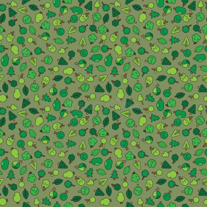 Δασικά δέντρα, evergreens κωνοφόρα δέντρα και πεύκο σε πράσινο απεικόνιση αποθεμάτων