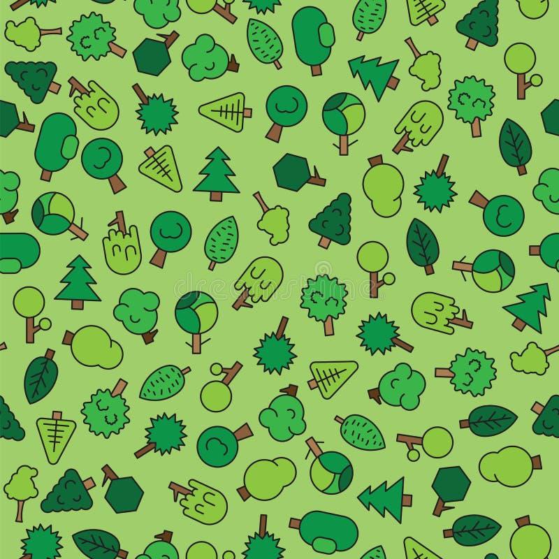 Δασικά δέντρα, evergreens κωνοφόρα δέντρα και πεύκο στο πράσινο άνευ ραφής σχέδιο διανυσματική απεικόνιση