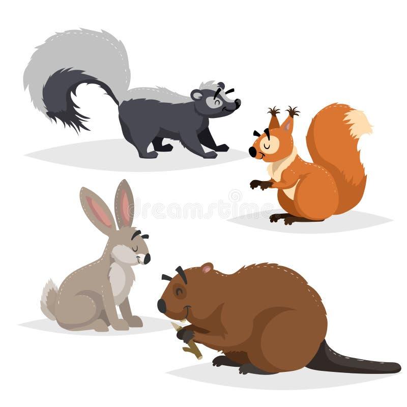 Δασικά ζώα καθορισμένα Μεφίτιδα, σκίουρος, λαγοί και κάστορας Ευτυχές χαμόγελο και εύθυμοι χαρακτήρες Διανυσματικές απεικονίσεις  ελεύθερη απεικόνιση δικαιώματος