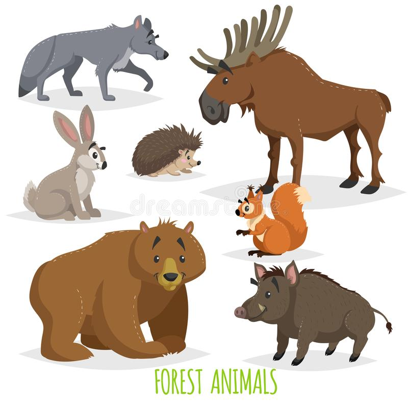 Δασικά ζώα κινούμενων σχεδίων καθορισμένα Λύκος, σκαντζόχοιρος, άλκες, λαγοί, σκίουρος, αρκούδα και άγριος κάπρος Αστεία κωμική σ απεικόνιση αποθεμάτων