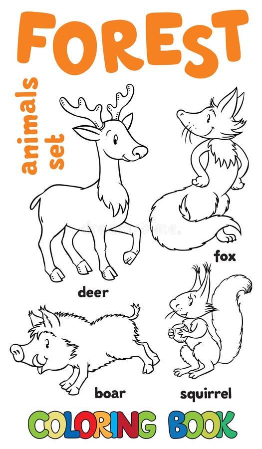 Δασικά ζώα που χρωματίζουν το βιβλίο απεικόνιση αποθεμάτων
