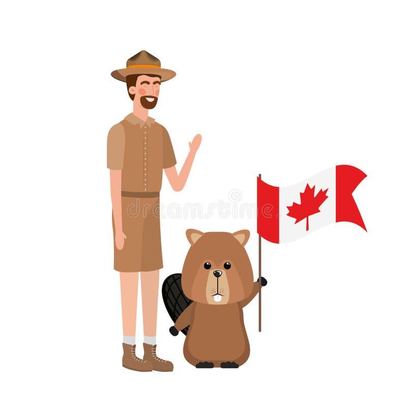 Δασικά ζώο καστόρων και δασοφύλακας του σχεδίου του Καναδά απεικόνιση αποθεμάτων