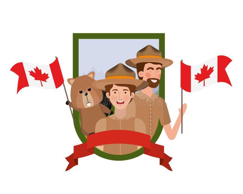 Δασικά ζώο καστόρων και δασοφύλακας του σχεδίου του Καναδά διανυσματική απεικόνιση