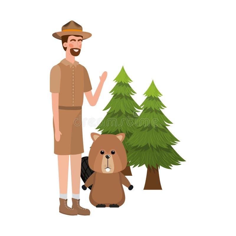 Δασικά ζώο καστόρων και δασοφύλακας του σχεδίου του Καναδά ελεύθερη απεικόνιση δικαιώματος