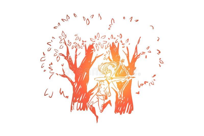 Δασική νεράιδα με το τόξο και το ρίγο, μυθικό πλάσμα στα ξύλα, νέος κομψός bowman, φανταστικός κυνηγός διανυσματική απεικόνιση