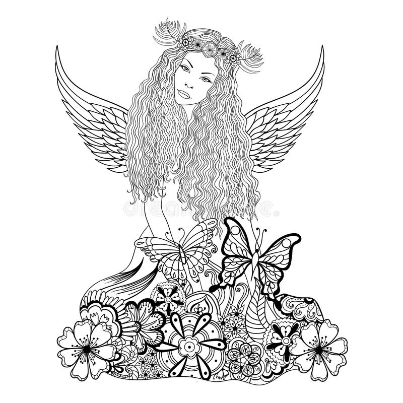 Δασική νεράιδα με τα φτερά και στεφάνι επικεφαλής, νέο στον όμορφο διανυσματική απεικόνιση