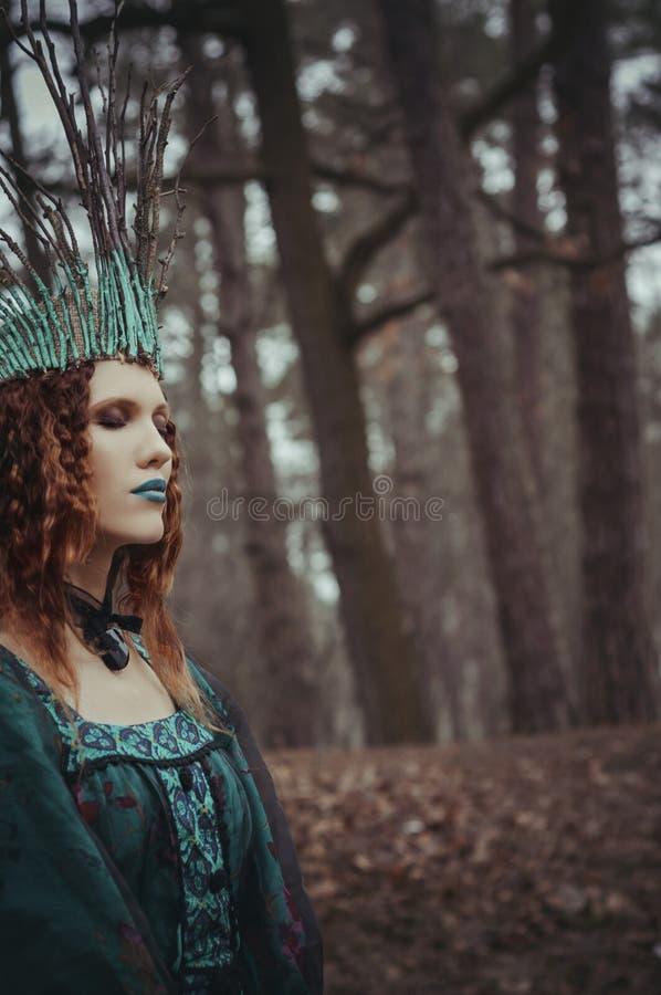 Δασική νύμφη στο πράσινο φόρεμα στοκ εικόνα