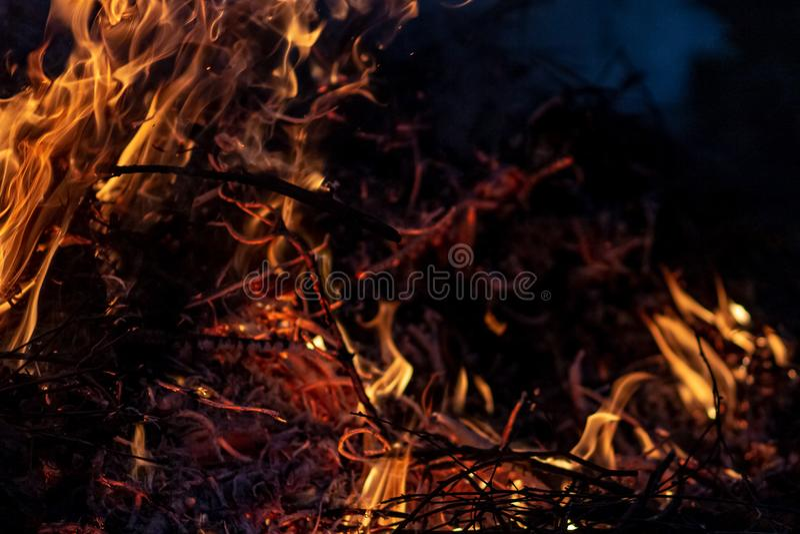Δασική ολόκληρη περιοχή πυρκαγιών τη νύχτα που καλύπτεται από τη φλόγα και τα σύννεφα του σκοτεινού καπνού Διαστρεβλωμένος οφειλό στοκ φωτογραφία με δικαίωμα ελεύθερης χρήσης